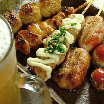 ビールと焼き鳥のナイスコンビ!
