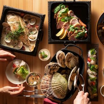 東北の厳選した旬の食材を使った料理を提供。