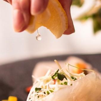 レモンは「瀬戸内レモン」 おいしいお魚との相性も抜群です。