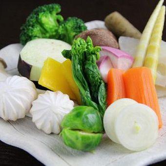 鉄板焼きには欠かせない野菜。食材はすべて厳選されたもの。