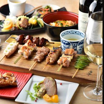 自社ブランド「八ヶ岳鳥幸地鶏」絶品『特上レバー』を含む、豪華串七本を堪能できる贅沢なコース