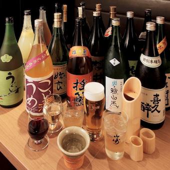 ワイングラスで楽しむ日本酒や焼酎。お酒が好きな方も大歓迎です。