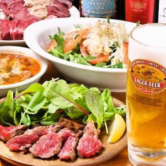 牛肉の炭焼きをスライスして絶品タレを一緒に食べる!人気メニュー!